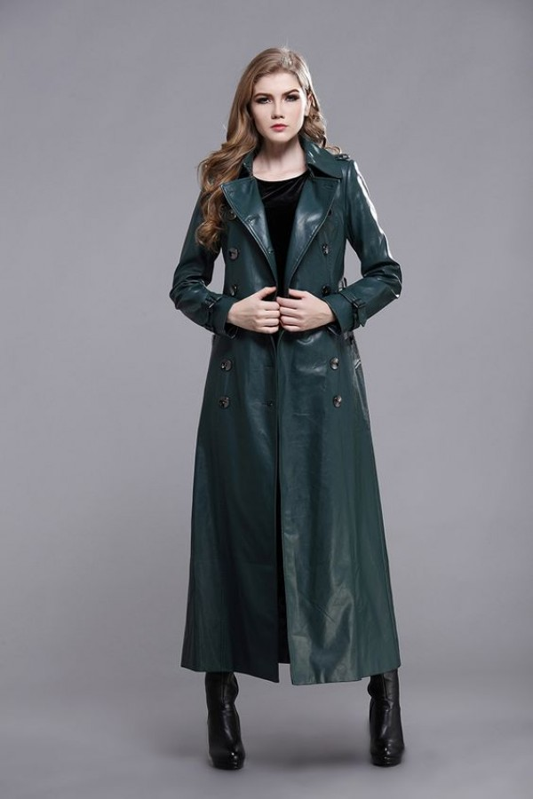 womens long coat green