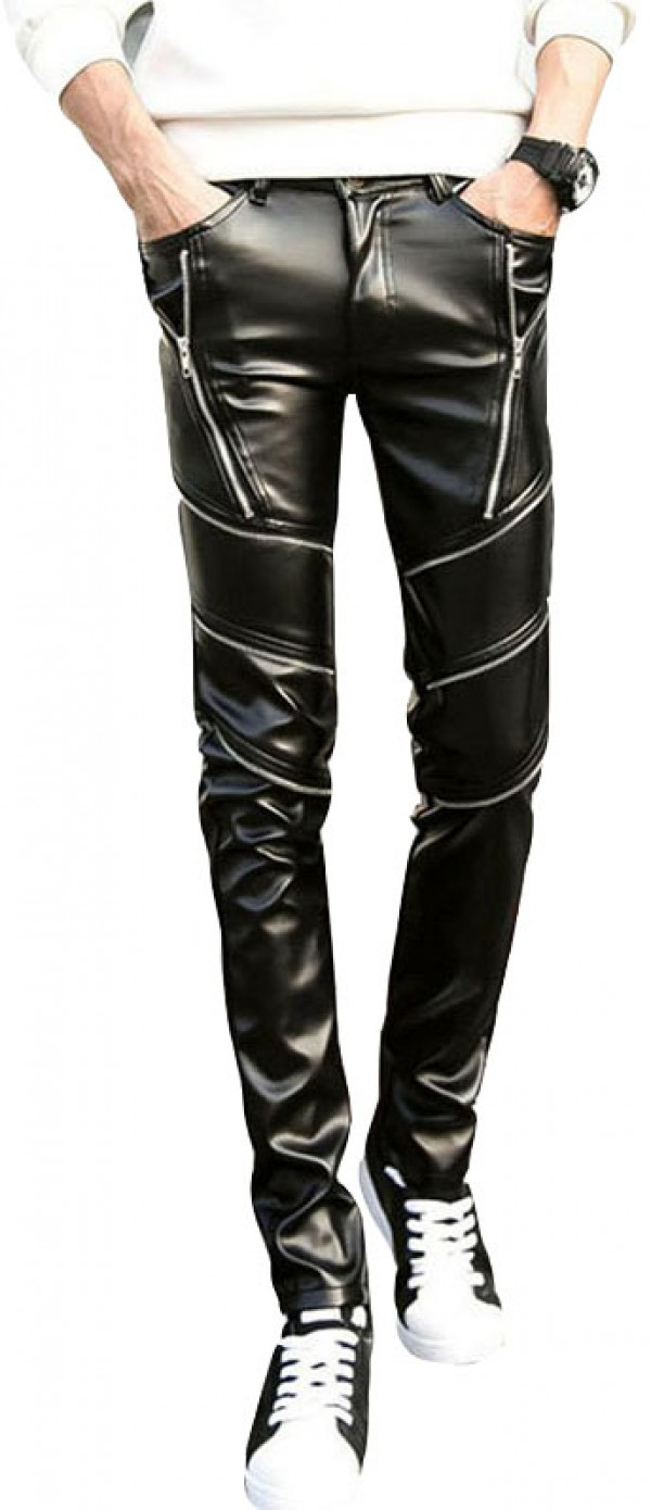 zipper mens leather pant