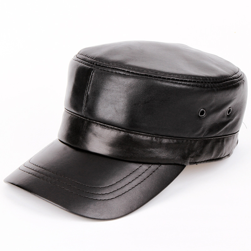 98a9439d05465 Leather Military Peaked Cap